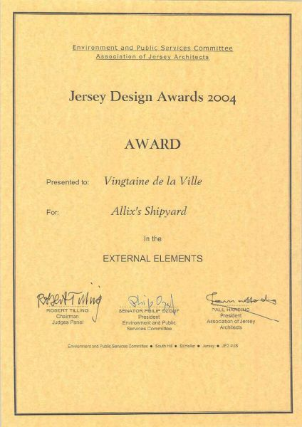 Jersey Design Awards 2004 Certificate